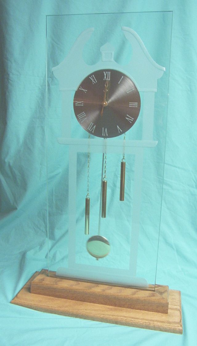 Etched Glass Grandfather Clock